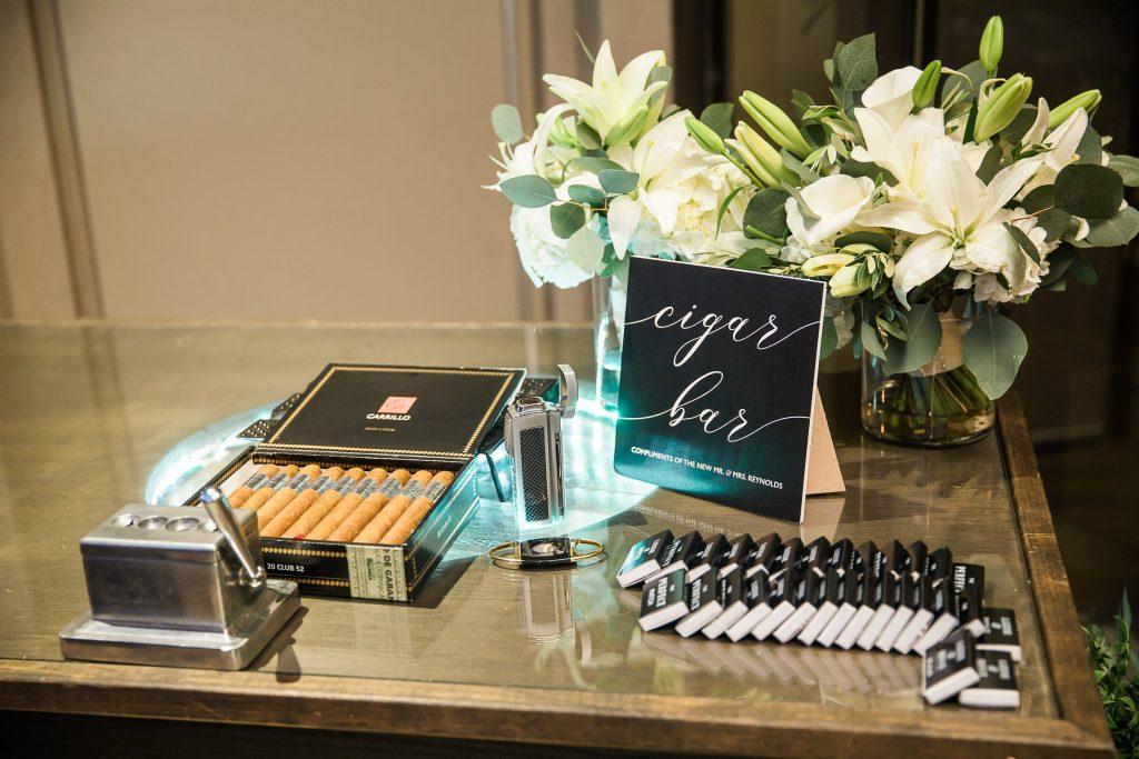 custom cigar bar display from a Chattanooga wedding